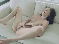 Long dildo did its main job and tender fingers of lusty babe finished the deal fast 11