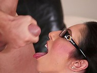 Big-boobied brunette with glasses divinely sucks tattooed bachelor's solid prick 11