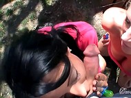 Sultry cougars who like candies sucked rigid lollipop with great pleasure in the fresh air 6