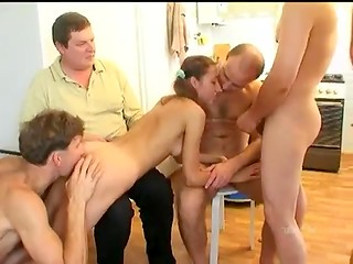 Horny russian men making group sex with young chick