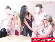 Lustful girlfriends invite men with masks to find out who can stand longer without ejaculation 5