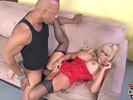 Busty blonde in black stockings was desiring to feel BBC in her wet vagina 7