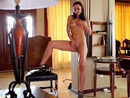 Provocative Aidra Fox with graceful legs and in high heels caresses petite body alone