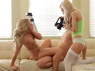 Flexible beauty with light hair made a good impression on the agent and his young assistant