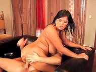 Romanian Jasmine Black with large natural coconuts and juicy ass actively riding a dick 6