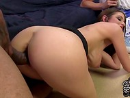 Big-boobied lady with cute face services black fucker being watched by naughty husband 7