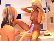 Lustful adventure with playful lesbians and a couple of dildos in the bath went well 8