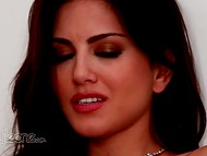 Lonely Sunny Leone from Canada with luxurious necklace fingers vagina sitting on the stairs 4
