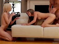 Nude assistant stands close and tries not to disturb the agent from screwing amateur babe's tight twat 4
