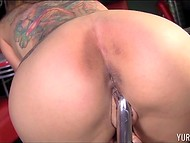 Amazing Yurizan Beltran with massive jugs and tattooed body found what to do in the closed bar alone 11