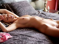 Long-haired babe with thin body could not lie quietly that's why started doing naughty things 5