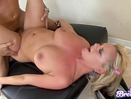 Deepthroat blowjob by blonde with natural breasts filled guy with energy for great fuck 9