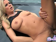 After deepthroat blowjob by Bree Olson, policeman fucked trimmed pussy on the hood 9