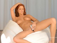 Red-haired Irish Jayden Cole took off snow-white lingerie to make games with dildo more comfortable