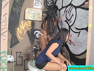 Honey was horrified that buxom stepmother sucks cock but out of curiosity joined her in the gloryhole scene 11