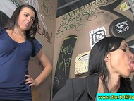 Honey was horrified that buxom stepmother sucks cock but out of curiosity joined her in the gloryhole scene 5