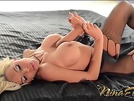 Topnotch Nina Elle in fishnet pantyhose makes a great show of heady body sucking dildo 9
