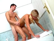 Buddy actively penetrates his young babe in variable sex positions in the bathroom 4
