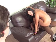 Brunette slut spreads legs for three murky pals that owned her in front of nerdy boyfriend