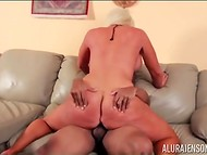 Stacked blonde Alura Jenson with great butt cheeks briskly rides bald dude's shaft 10
