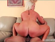 Stacked blonde Alura Jenson with great butt cheeks briskly rides bald dude's shaft 11