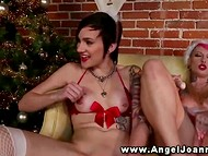 Lesbian Joanna Angel and her tattooed girlfriends in Christmas outfits stimulate twats 10