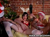 Lesbian Joanna Angel and her tattooed girlfriends in Christmas outfits stimulate twats 7