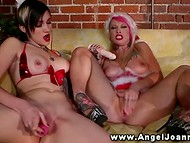 Lesbian Joanna Angel and her tattooed girlfriends in Christmas outfits stimulate twats 9