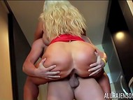 Hairless womanizer inserts throbbing ramrod in buxom MILF's cavern in the hallway 10