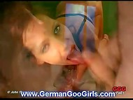 Lustful German babe energetically worked with deep throat and earned a lot of sperm in the mouth 8