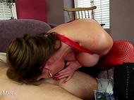 Big-tittied Phoenix Marie in red fishnet pantyhose finally got a dick in the mouth 4