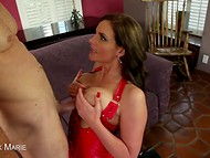 Big-tittied Phoenix Marie in red fishnet pantyhose finally got a dick in the mouth 9