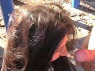 Парни привели голых девчат на детскую площадку и поимели их пиздёнки после короткой прогулке в парке 9