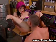 Both holes of tattooed Joanna Angel felt the heat of excited cock in the storeroom 5