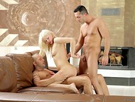 Two solid men's cocks simultaneously penetrate white-haired sweetie Lindsey Olsen's holes 8