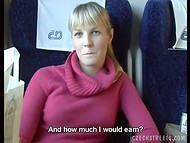 Czech Streets: slutty blonde relieves boring bus trip giving blowjob for money 4