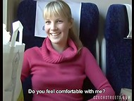 Czech Streets: slutty blonde relieves boring bus trip giving blowjob for money