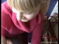 Czech Streets: slutty blonde relieves boring bus trip giving blowjob for money 7