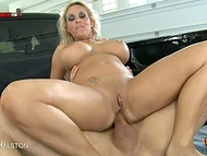 Pickup truck's trunk was quite roomy to fuck busty Holly Halston in the ass