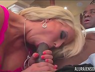 Fantastic Alura Jenson with enormous boobs gives Ebony man great blowjob
