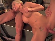 Enduring warehouse workers penetrated big-boobied colleen with curly hair in the threesome scene 7