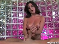 Proficient Penny Flame makes rigid cock ejaculate with the right words and agile hands 5