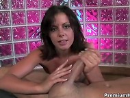 Proficient Penny Flame makes rigid cock ejaculate with the right words and agile hands 6
