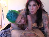 Tattooed dame Joanna Angel and gf with pied hair awoke boyfriend by perfect bj 9