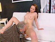 As soon as friend had left old weasel turned on the charm and began to seduce young redhead 4