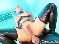 Big-tittied wardress in leather stockings knows how to calm wild prisoners 4