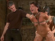 Slapping is nothing comparing to what was waiting for tied up imprisoned female