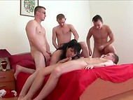 Dark-haired Russian woman easily pleasured four guys in spite of her adult age