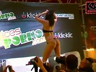 Shameless porn actress Pamela Sanchez entertains the crowd of viewers with various kinky contests 10