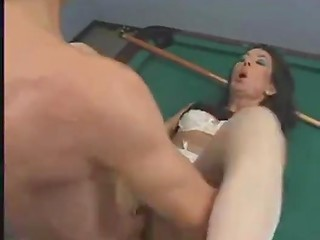 Boy with cool hairstyle fucks mature Spanish women's haired vaginas on the billiard table